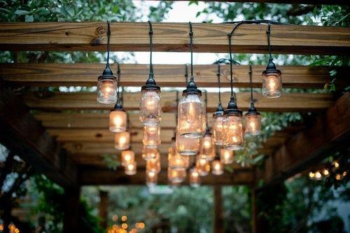 Deck lighting: Masons Jars Lighting, Decks, Pergolas, Yard Idea, Patio Lighting, Outdoor Lighting, Lighting Photography, Backyard, Hanging Lighting
