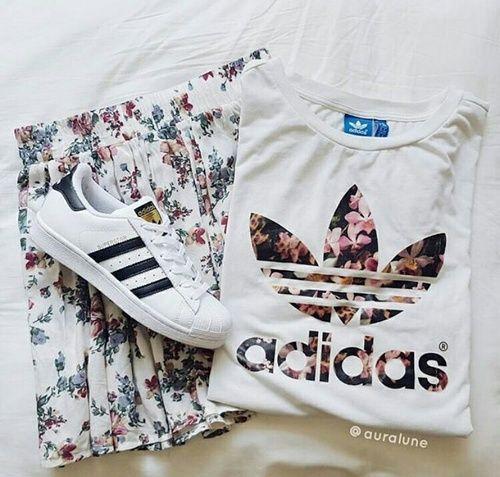 adidas, fashion, and flowers resmi