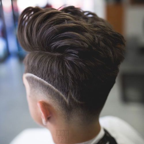 Modern Quiff + High Fade + Line in Hair Design