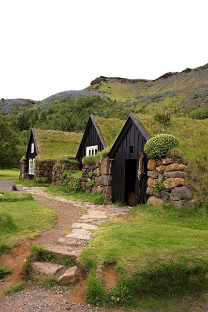 Il y a ça aussi à Terre-Neuve - Turf houses in #Iceland. Come visit one or maybe even live in one ;)