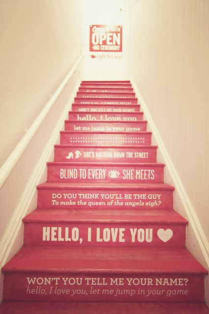"Stairwell to Opening Ceremony, Manhattan; featuring the lyrics to The Doors' hit, ""Hello, I Love You"" on the step faces..."