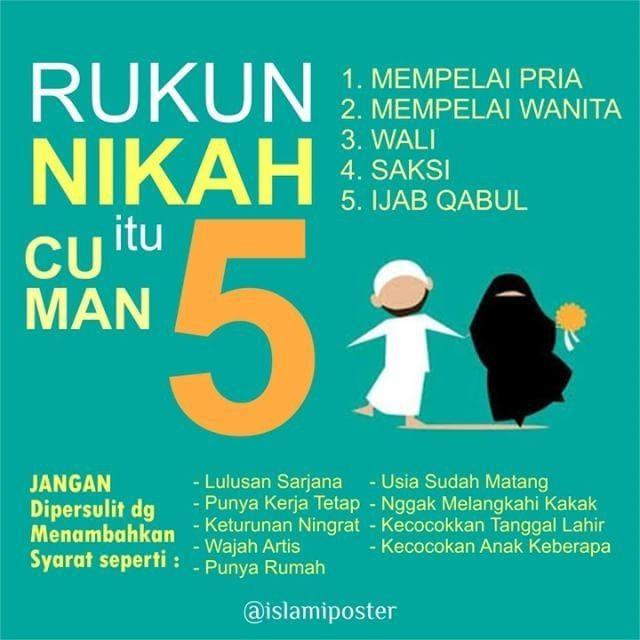 Rukun Nikah itu cuma 5  . Semoga bermanfaat.:) Follow @menjadisalihah
