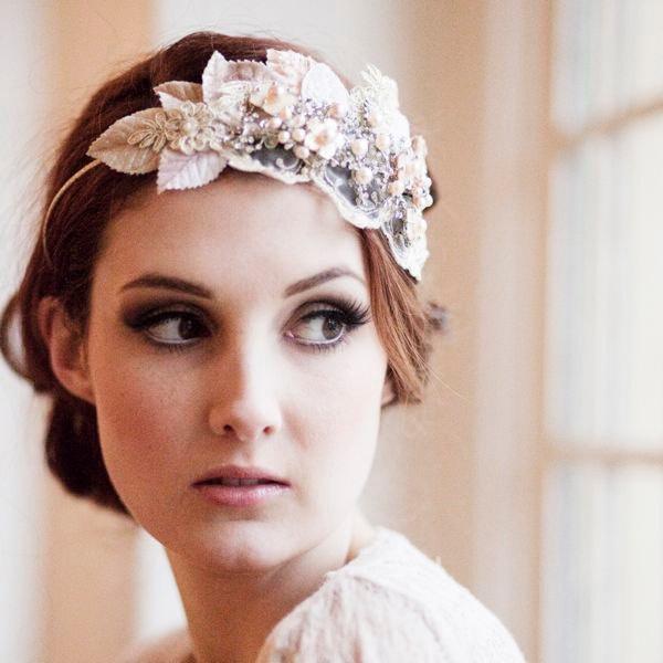 Vintage Milliner's Velvet Leaf Bridal Headdress.