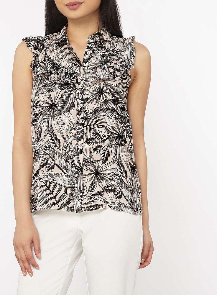 Womens Petite Pink Palm Print Ruffle Sleeveless Shirt- Pink