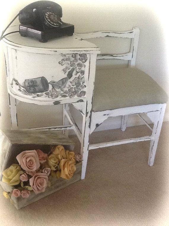 Liza Antique White Panel Bedroom Set: Peint à La Main Antique Vintage Shabby Chic Gossip Banc In