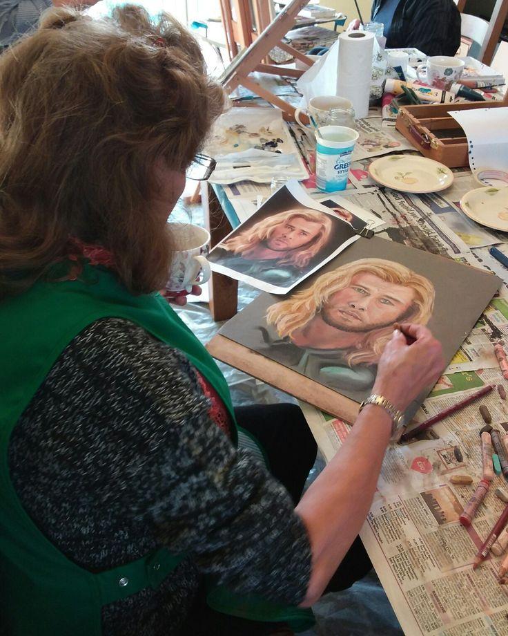 Student exploring portraiture