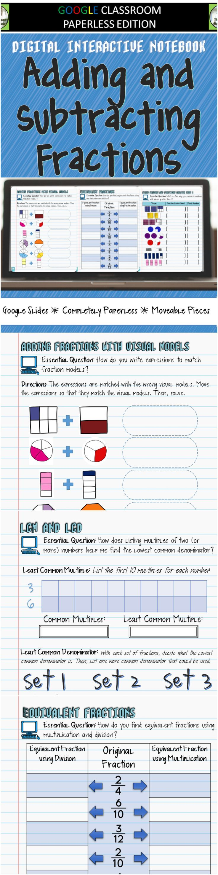 Google Classroom Adding and Subtracting Fractions Digital Interactive Notebook -   This Digital Interactive Notebook provides students with exercises that will help them learn about adding and subtracting fractions with unlike denominators. It includes to