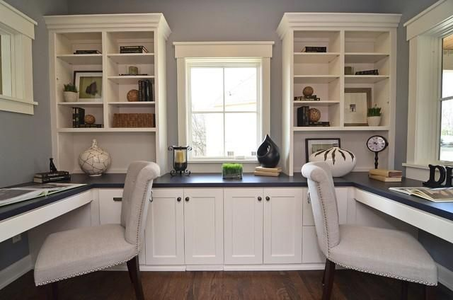 This one I LOVE for a home office, two kids or husband/wife space => Office Decoration Ideas / Love the wall cabinets