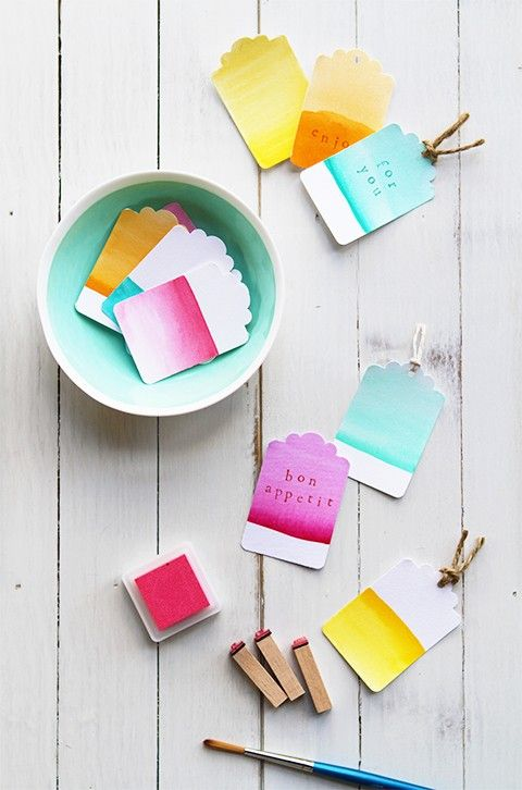Sweet little watercolor paper tags. #diy