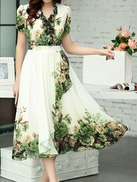 Cowl Neck Falbala Printed Maxi-dresses | fashionmia.com