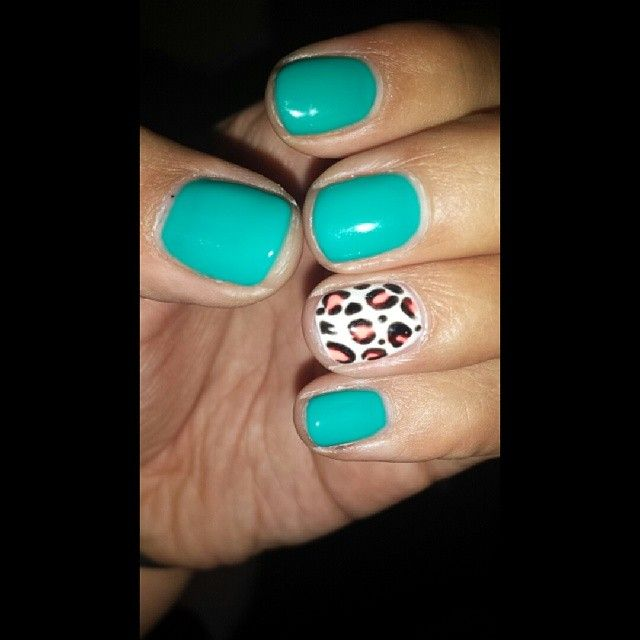 Teal gel nails with coral leopard design... Summer shellac design