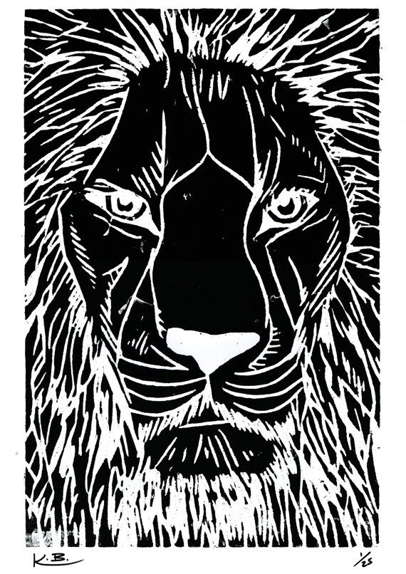 Lion Woodcut Print by Kelly Blake. Limited Edition of 25, Signed by Artist.