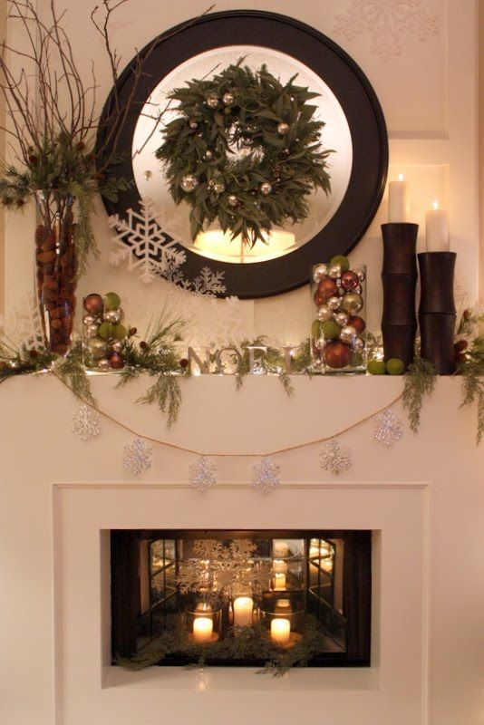 rustic christmas mantle with round mirror