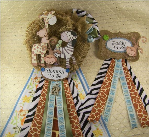 Set of Safari Baby Shower Corsages Mommy To Be by BloomingParty