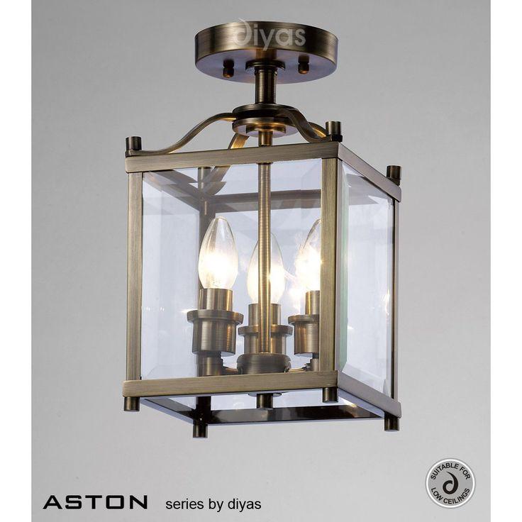 £205  Diyas IL31110 Aston 3 Light Antique Brass Flush Lantern
