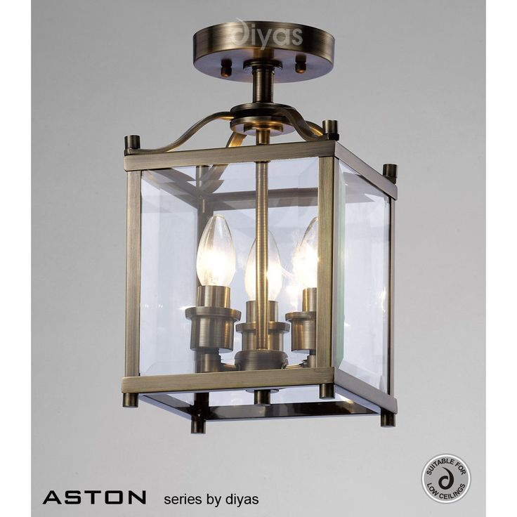 £205  Diyas IL31110 Aston 3 Light Antique Brass Flush Lantern