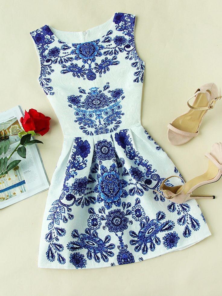 White Sleeveless Porcelain Print Embossed Zip Back Dress