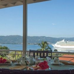 Polkerris Bed & Breakfast Specials: 7th Night Free Advance Booking Special - Breakfast view of Cruise Ships in #Jamaica
