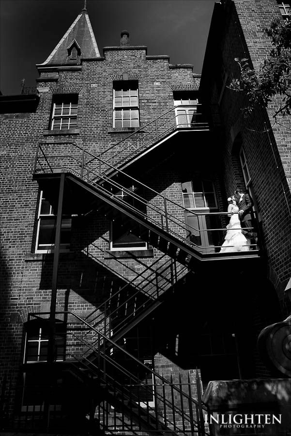 Location > THE ROCKS.  Unique, rustic, romantic, love, black & white city urban wedding portrait ideas.