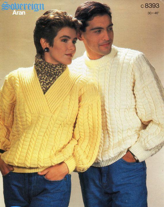 Ladies Aran Sweater Crossover Neck Mens Aran Sweater Crew Neck Aran Jumper 30-46inch Aran Yarn Unisex Knitting Patterns PDF Instant Download