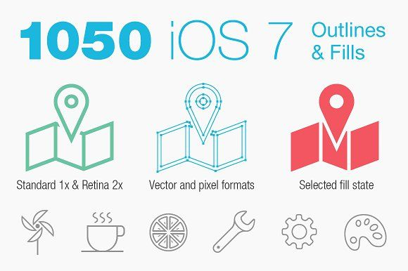 iOS 7 Tab Bar Icons by PixelLove.com by PixelLove on @creativemarket