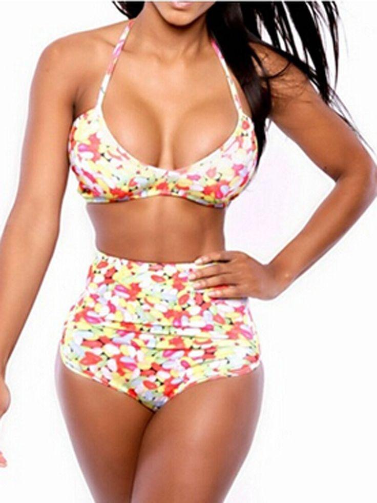 Multicolor Floral Triangle Bikini Top And High Waist Bottom | Choies