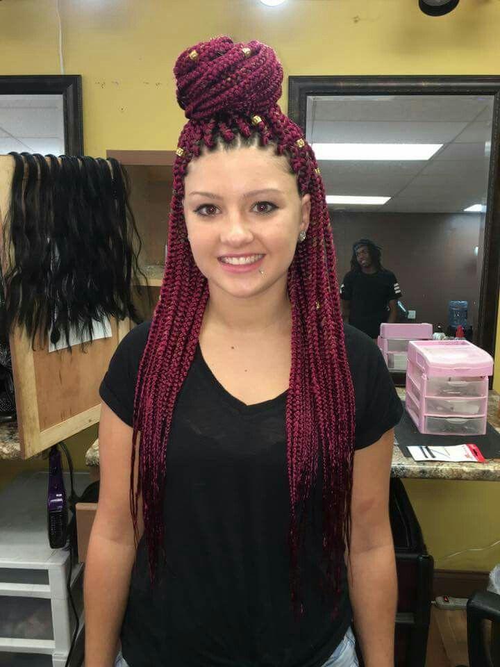 Cheveux, Idées De Tressage, Styles Tressés, Tresses Boîte Rouge, Rouge Bordeaux, Ne Peut Pas Basculer, Braiding Styles, Braids 4, Box Braids Burgundy