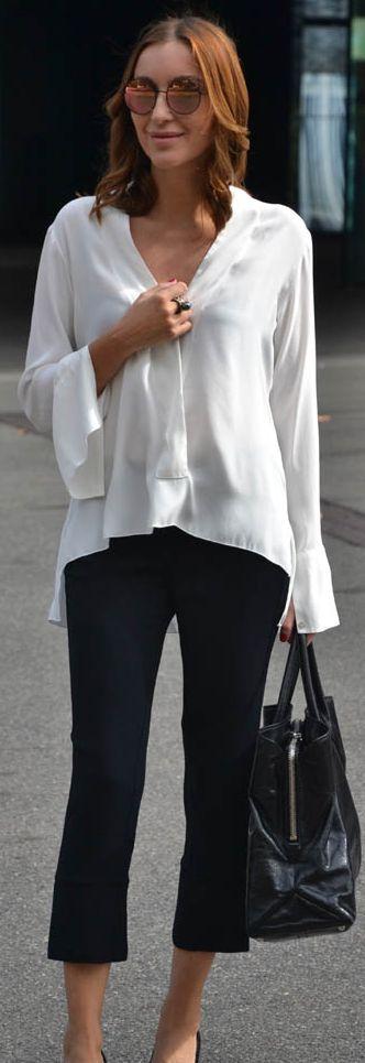 Diaro De Estilo Black Crop Pants White Chic Blouse Fall Inspo                                                                             Source