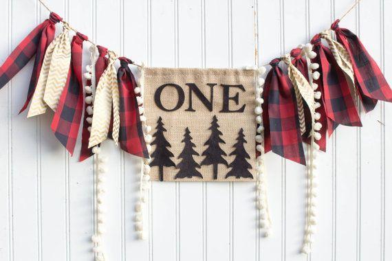 Woodland Lumberjack Happy Little Camper birthday party set decoration highchair, banner, onederland, buffalo plaid, deer, camping, Christmas