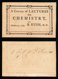 university of Pensylvania Admission Ticket to Benjamin Rush's Lectures on Chemistry