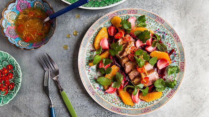 Smoked duck, beetroot and orange sauce   Duck recipes   SBS Food   Poh & Co.