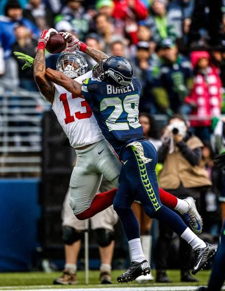 Odell Beckham Jr. catches a pass on Marcus Burley : Must-see photos from NFL Week 10