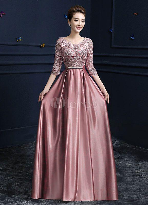 Lace Evening Dress Satin Round Neck Half Sleeve Mother Of The Bride Dress Cameo Pink A Line Floor Len Spitzen Abendkleider Kleid Hochzeitsgast Formelle Kleider