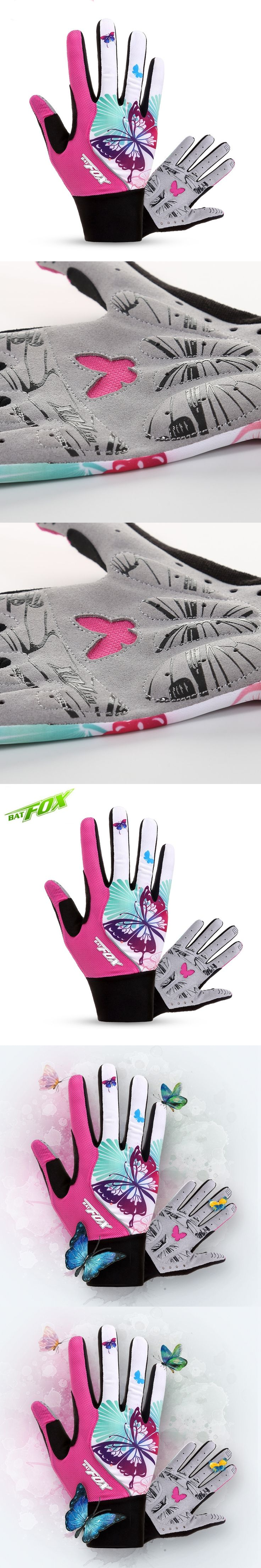 2017 Women MTB Bike Sport Gloves Shock Absorption Nylon Cotton Cycling Gloves Washable Fitness Cycling Gloves Full Finger F-553