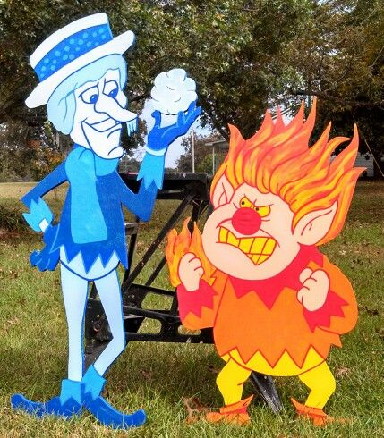 Snow Miser and Heat Miser Christmas yard decorations yard art. Miser brothers
