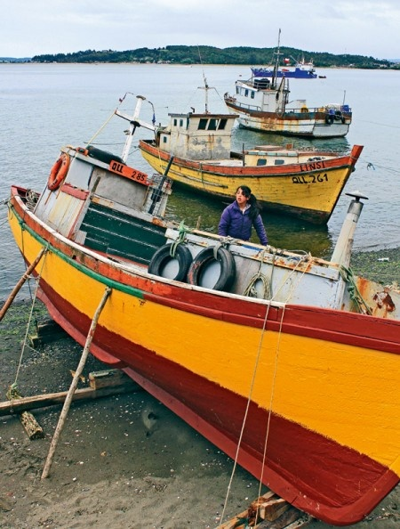 Boats in Ancud, Chiloe Chile