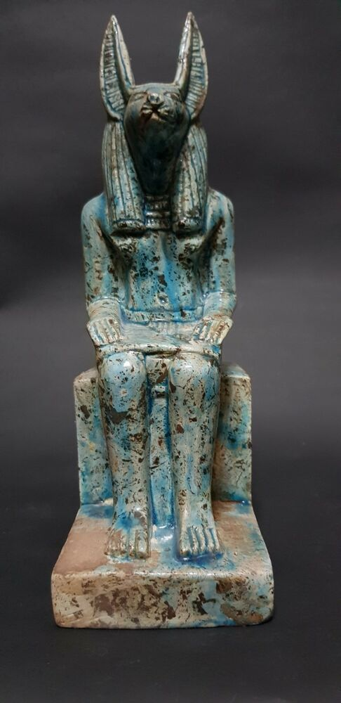ANCIENT EGYPTIAN ANTIQUES STATUE Of GOD ANUBIS Blue Glazed