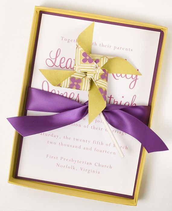 Luxury Boxed Classy Wedding Invitation  by whenandwhereinvites, $9.50    I love the idea of sending Pinwheels out with the invitations.