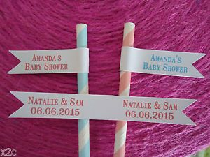 20 White Paper Straw Flags Tags Personalised Colour Wedding Christening Birthday | eBay