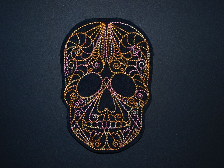 Skull Skeleton Calavera Embroidered Iron On, Sew on, Applique, Patch, motif by woosbagsandcrafts on Etsy