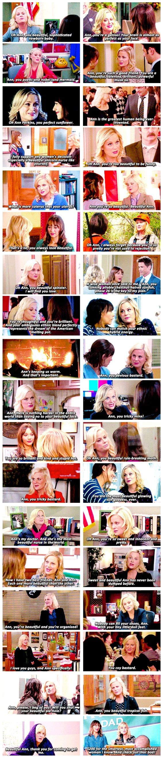 All of Leslie's compliments to Ann. (Parks and Recreation)