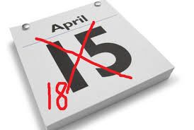 Tax filing deadline  schedule your in office or virtual appointment by calling 561-235-3627.    Need more time? File an extension and get an extra 6 months!!   Why April 18th? The filing deadline to submit 2015 tax returns is Monday, April 18, 2016, rather than the traditional April 15 date. Washington, D.C., will celebrate Emancipation Day on that Friday, which pushes the deadline to the following Monday for most of the nation.
