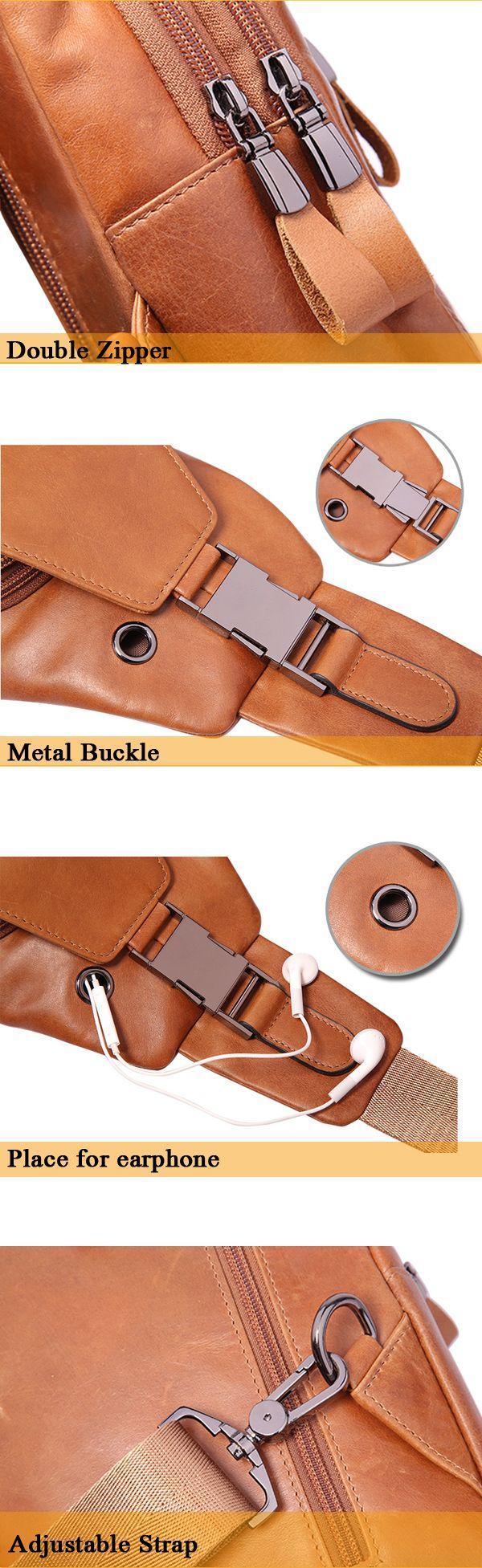 Ekphero® Men Casual Genuine Leather Oil Wax Chest Bag Crossbody Bag