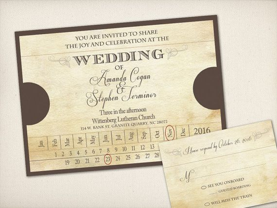 Wedding Invitation, Old Fashioned Train Ticket, Modern Vintage Rustic, Unique Train Themed Wedding, DIY Printable, Invitation Prints (WITT2)