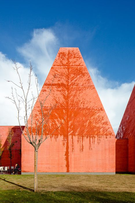 Amazing image and detail of Eduardo Souto de Moura's Museu Paula Rego in Cascais after a storm. The diagonal, board-formed concrete facade causes the rain to dry in a distinct tree-like pattern, mimicking the nearby plantings.