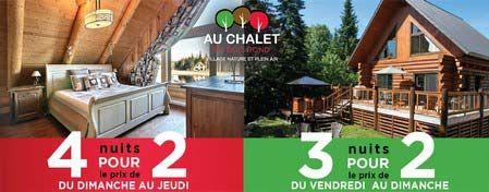 Au Chalet En Bois Rond, location de chalet Québec