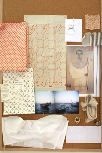 elise bergman's lovely inspiration board.   (w/ mast brothers chocolate wrapper)