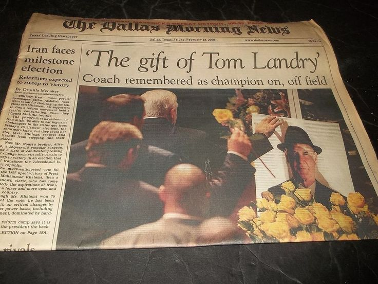 Dallas Morning News Newspaper Gift of Tom Landry Funeral Dallas Cowboys Coach