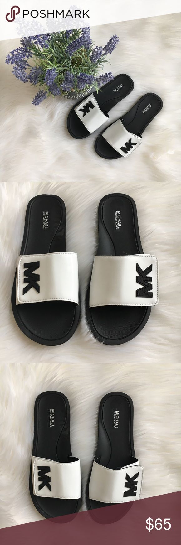 Michael Kors pool shoes.       NWOT Black and white pool slides in vegan upper with MK  logo and rubber soles by Michael Kors. New! Authentic FIRM PRICE MICHAEL Michael Kors Shoes Sandals