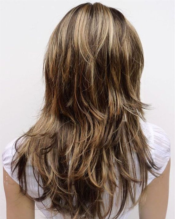 HEAT FRIENDLY Long Brown Wig with Blonde Highlights Synthetic Hair ...